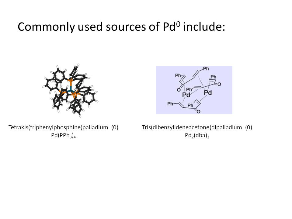 Commonly used sources of Pd0 include: