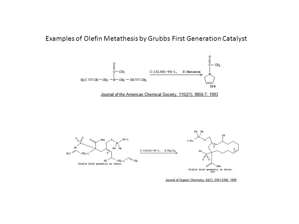 Examples of Olefin Metathesis by Grubbs First Generation Catalyst