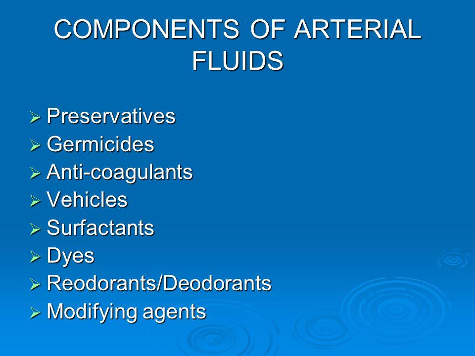 COMPONENTS OF ARTERIAL FLUIDS