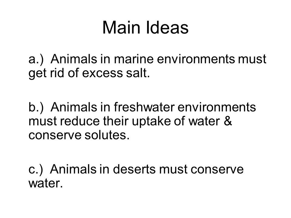 Main Ideas a.) Animals in marine environments must get rid of excess salt.