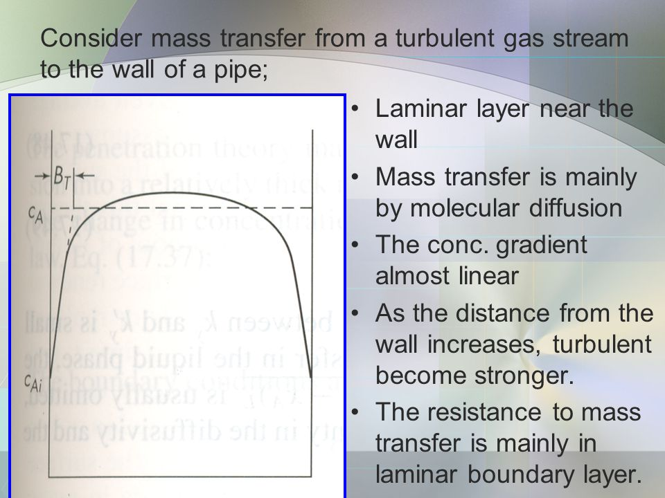 Consider mass transfer from a turbulent gas stream to the wall of a pipe;
