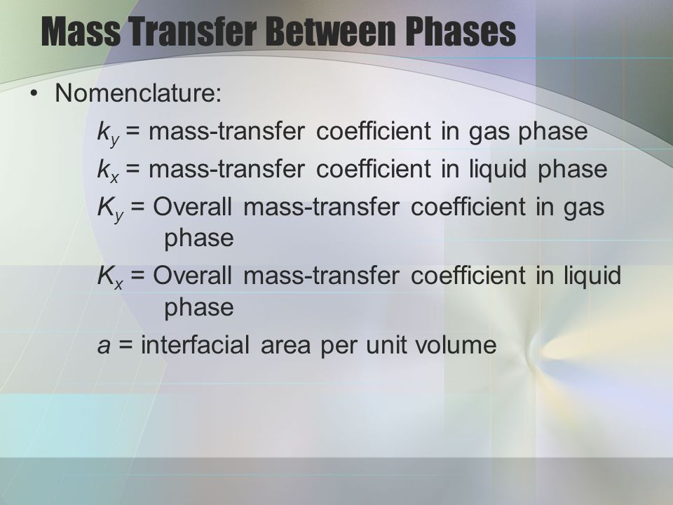 Mass Transfer Between Phases