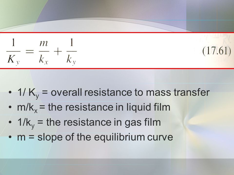 1/ Ky = overall resistance to mass transfer