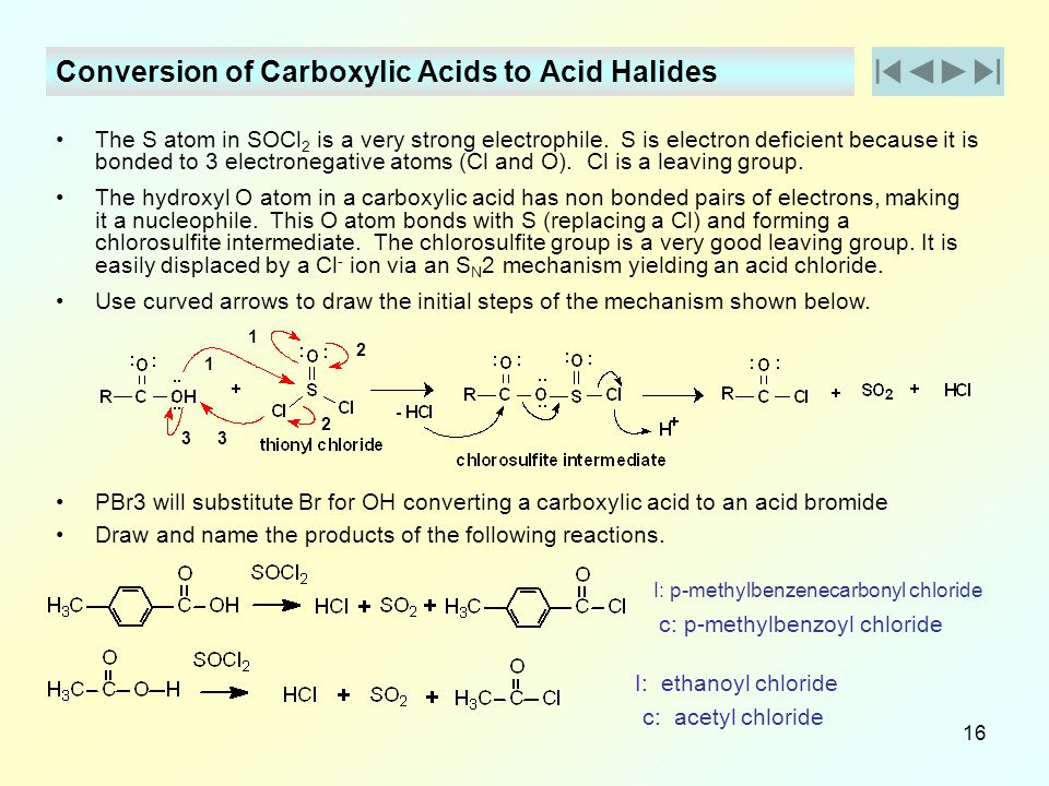 Conversion of Carboxylic Acids to Acid Halides