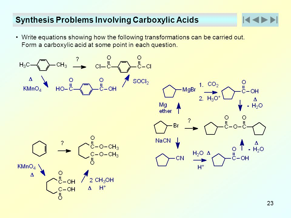 Synthesis Problems Involving Carboxylic Acids
