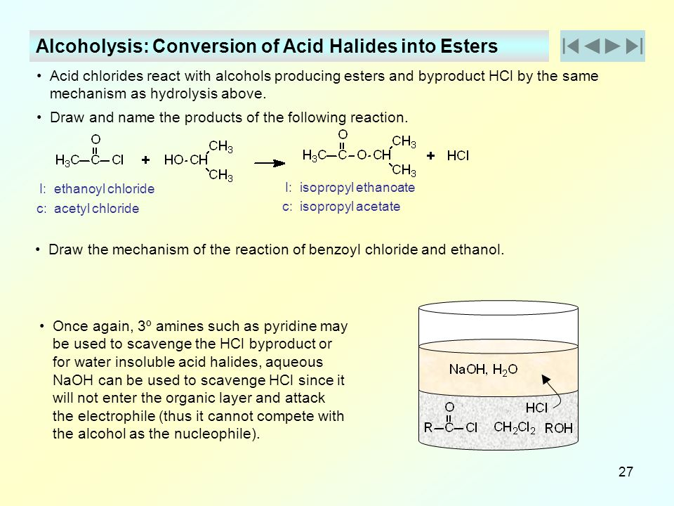 Alcoholysis: Conversion of Acid Halides into Esters