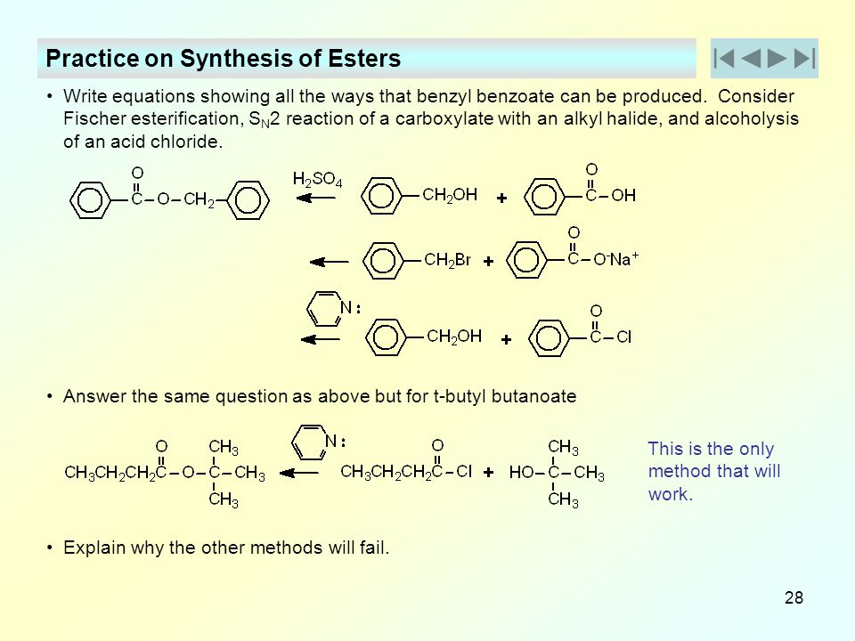 Practice on Synthesis of Esters