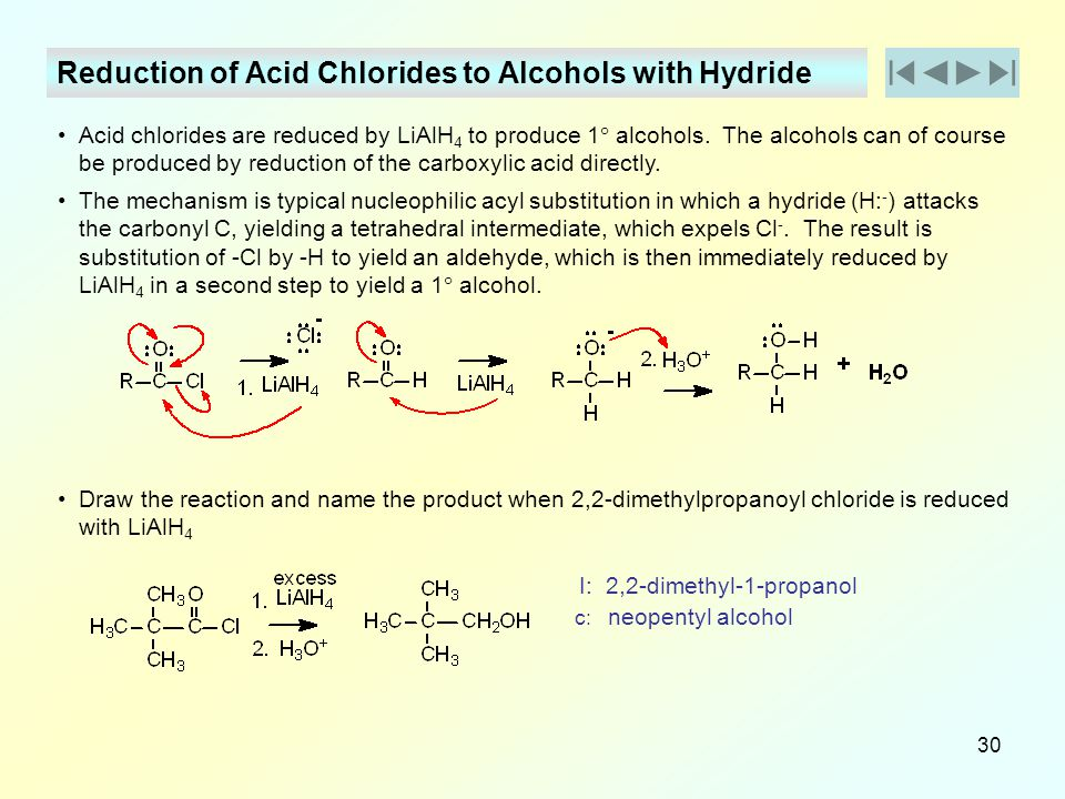 Reduction of Acid Chlorides to Alcohols with Hydride