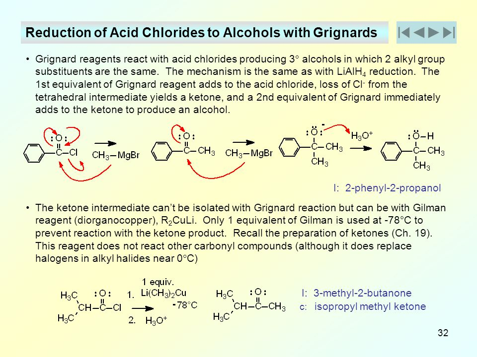 Reduction of Acid Chlorides to Alcohols with Grignards