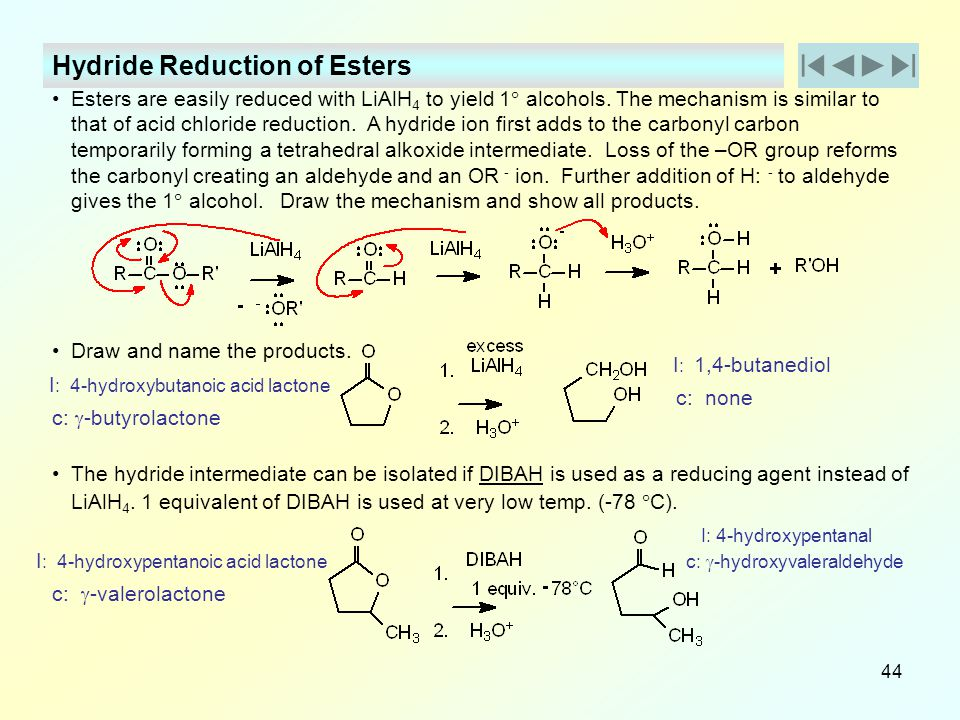 Hydride Reduction of Esters