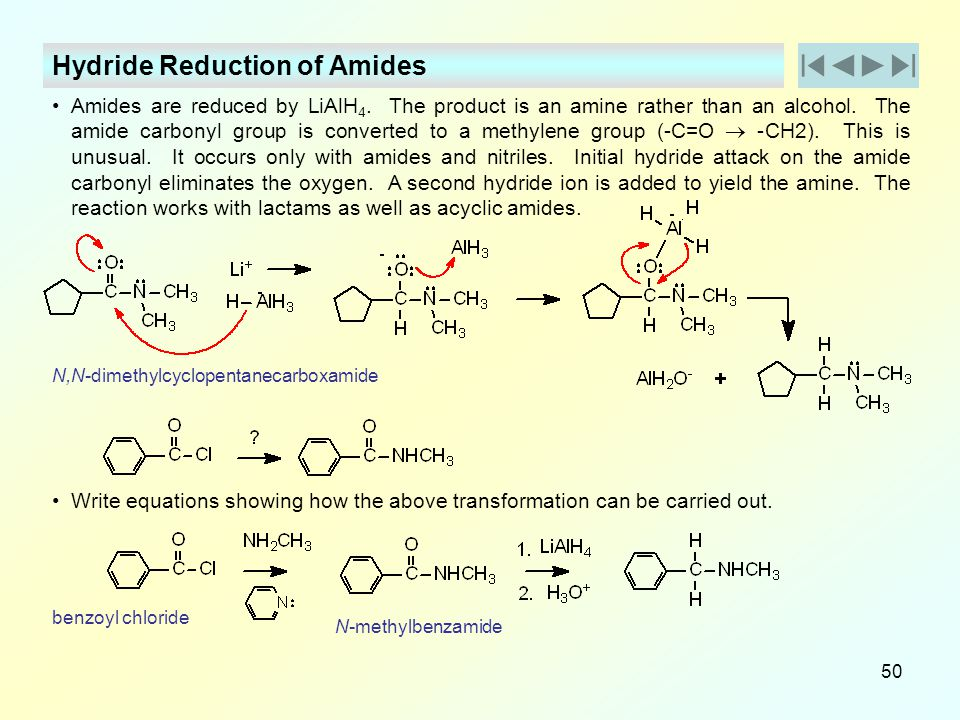 Hydride Reduction of Amides
