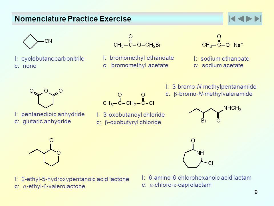 Nomenclature Practice Exercise