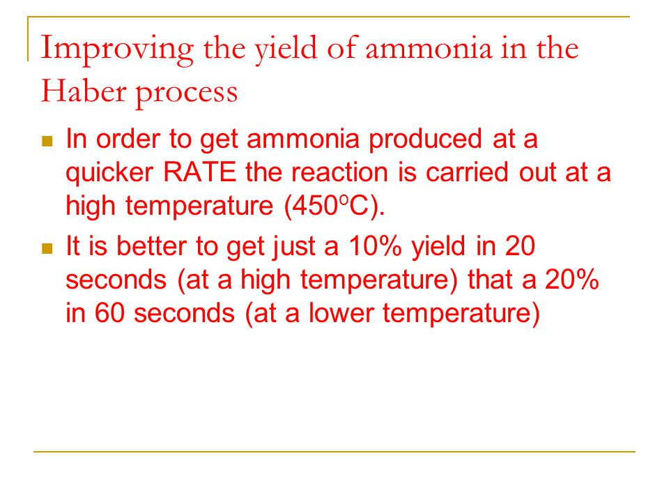 Improving the yield of ammonia in the Haber process