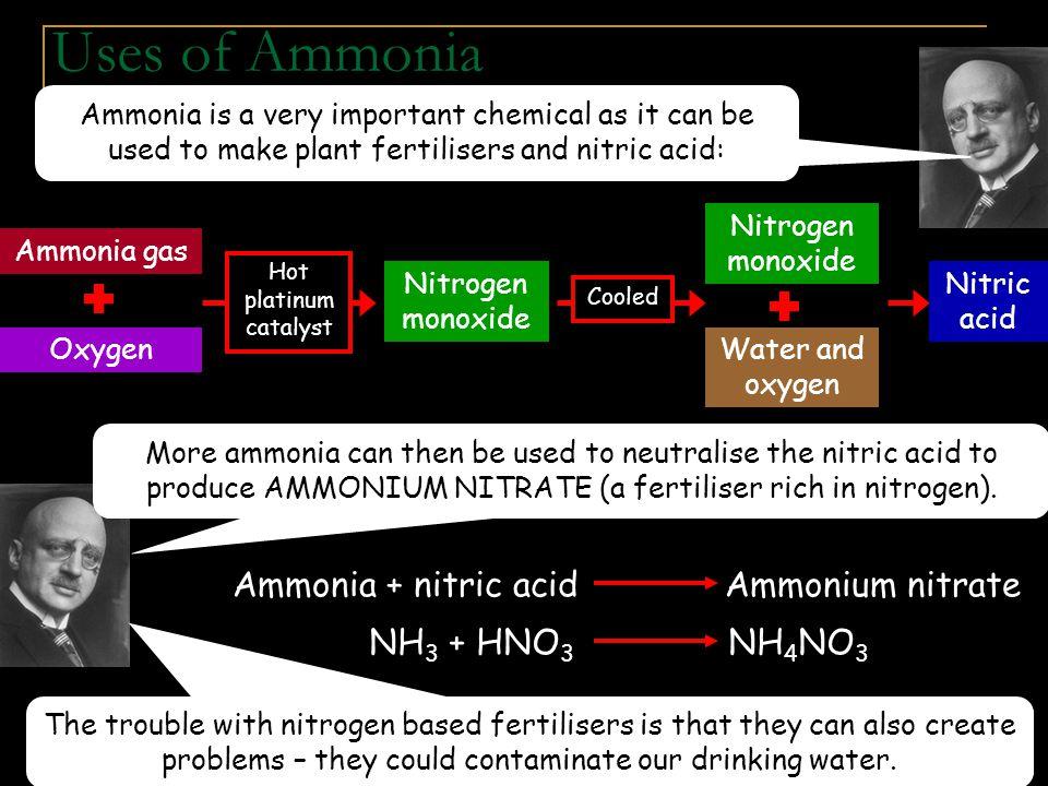 Ammonia + nitric acid Ammonium nitrate