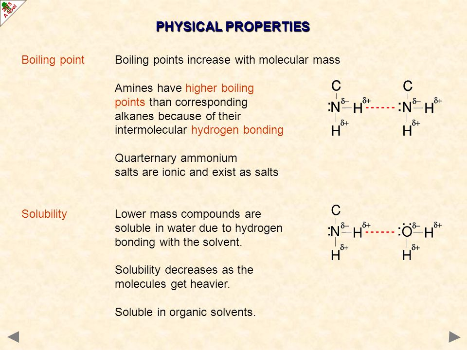 PHYSICAL PROPERTIES Boiling point Boiling points increase with molecular mass. Amines have higher boiling.