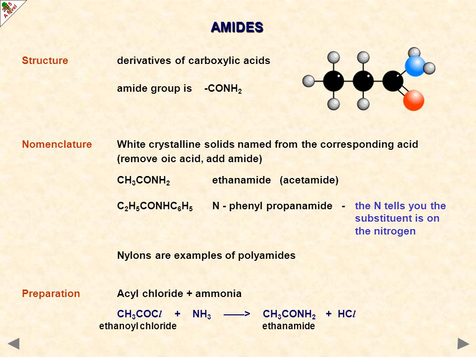 AMIDES Structure derivatives of carboxylic acids amide group is -CONH2