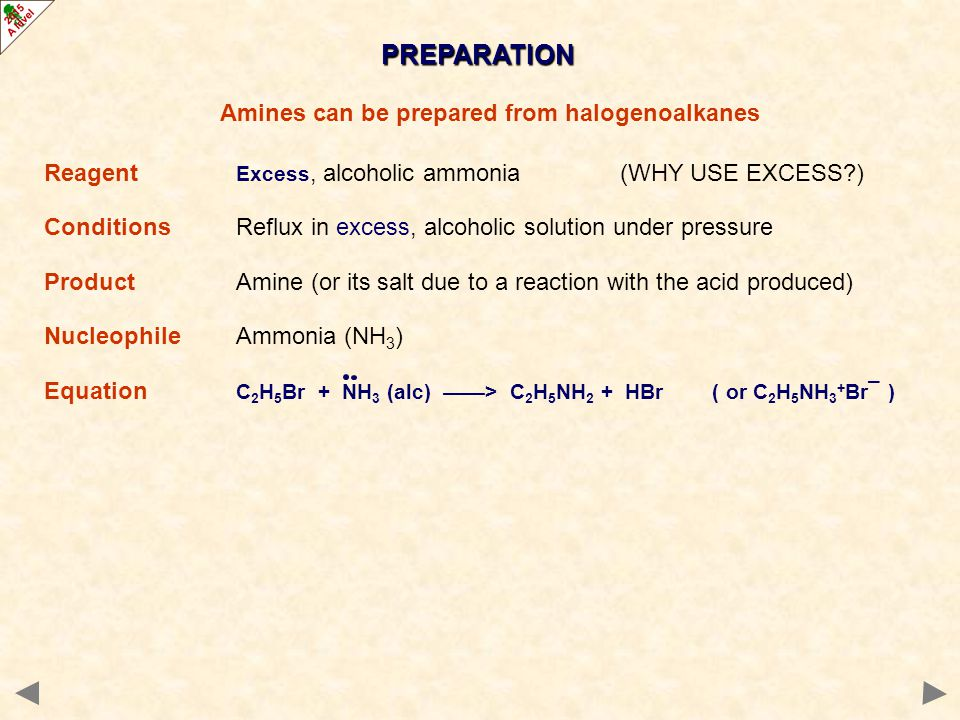 Amines can be prepared from halogenoalkanes