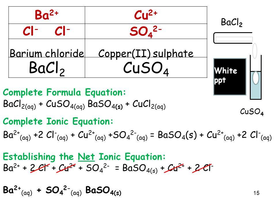 Barium chloride Copper(II) sulphate BaCl2 CuSO4 Ba2+ Cu2+ Cl- Cl-