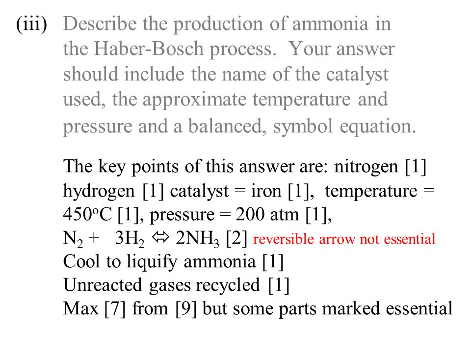 (iii). Describe the production of ammonia in. the Haber-Bosch process