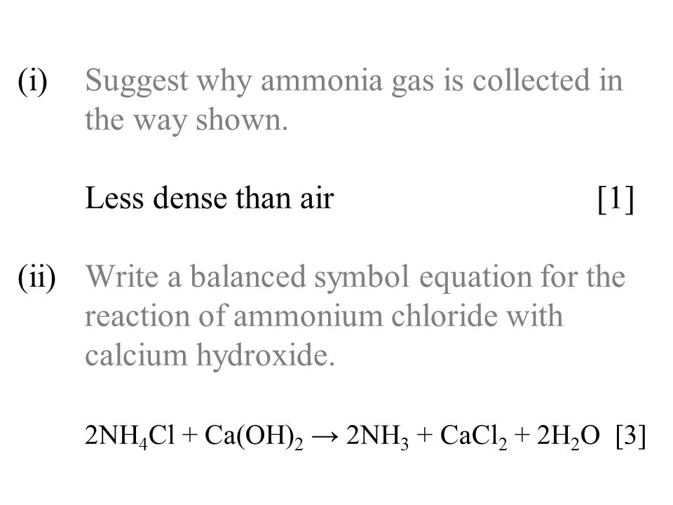 (i). Suggest why ammonia gas is collected in. the way shown