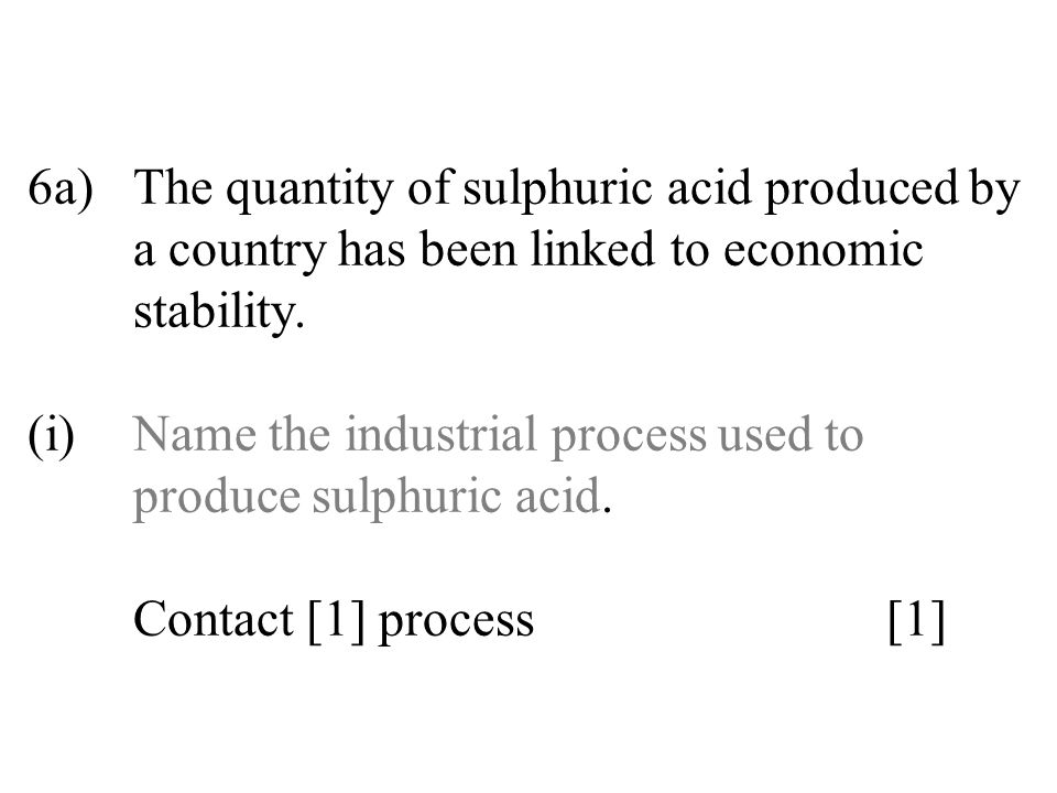 6a). The quantity of sulphuric acid produced by