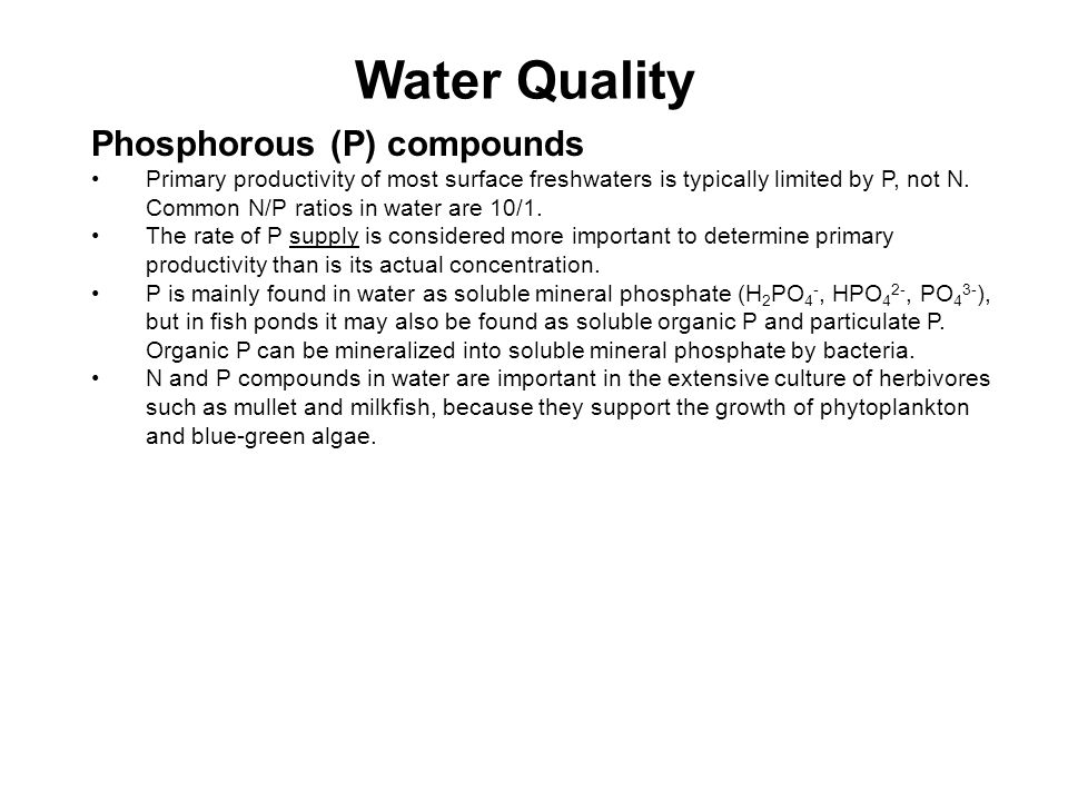 Water Quality Phosphorous (P) compounds