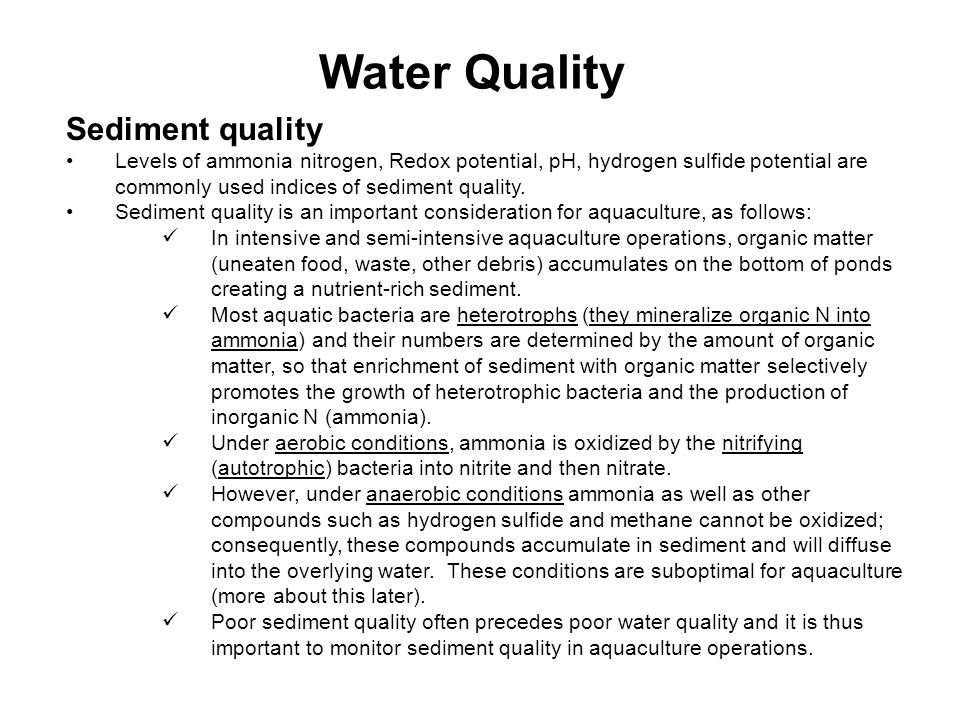 Water Quality Sediment quality
