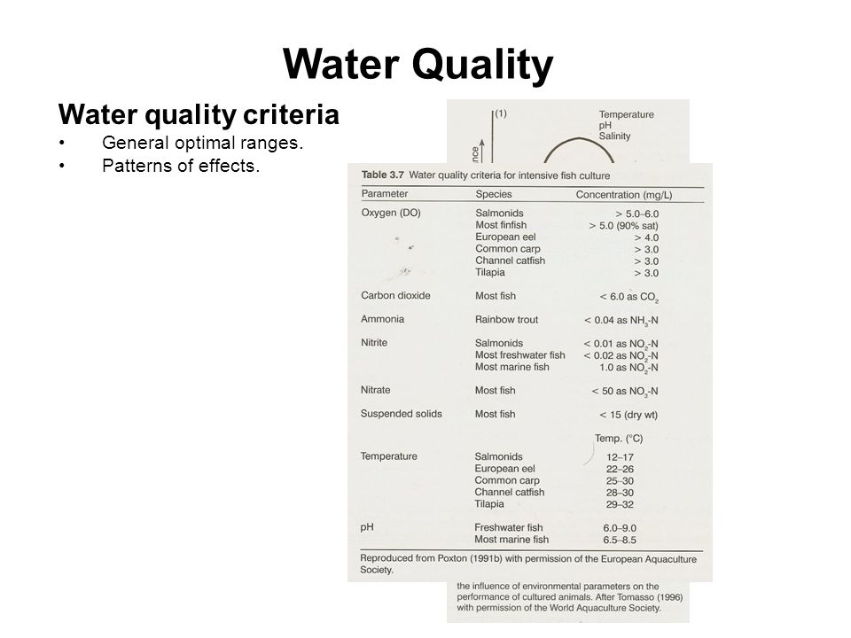 Water Quality Water quality criteria General optimal ranges.