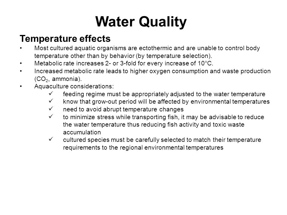 Water Quality Temperature effects