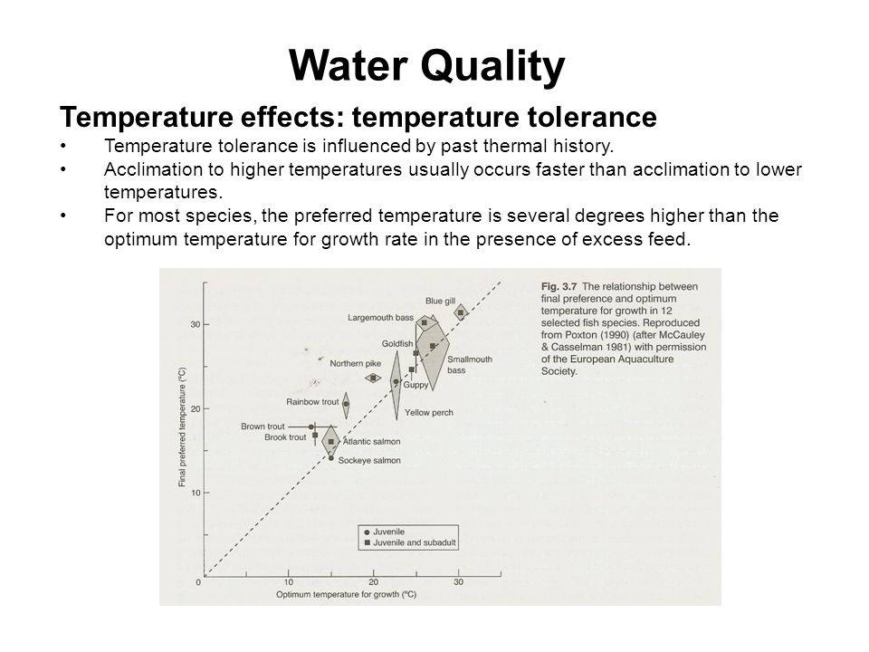 Water Quality Temperature effects: temperature tolerance