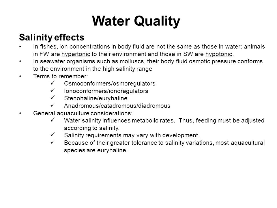 Water Quality Salinity effects