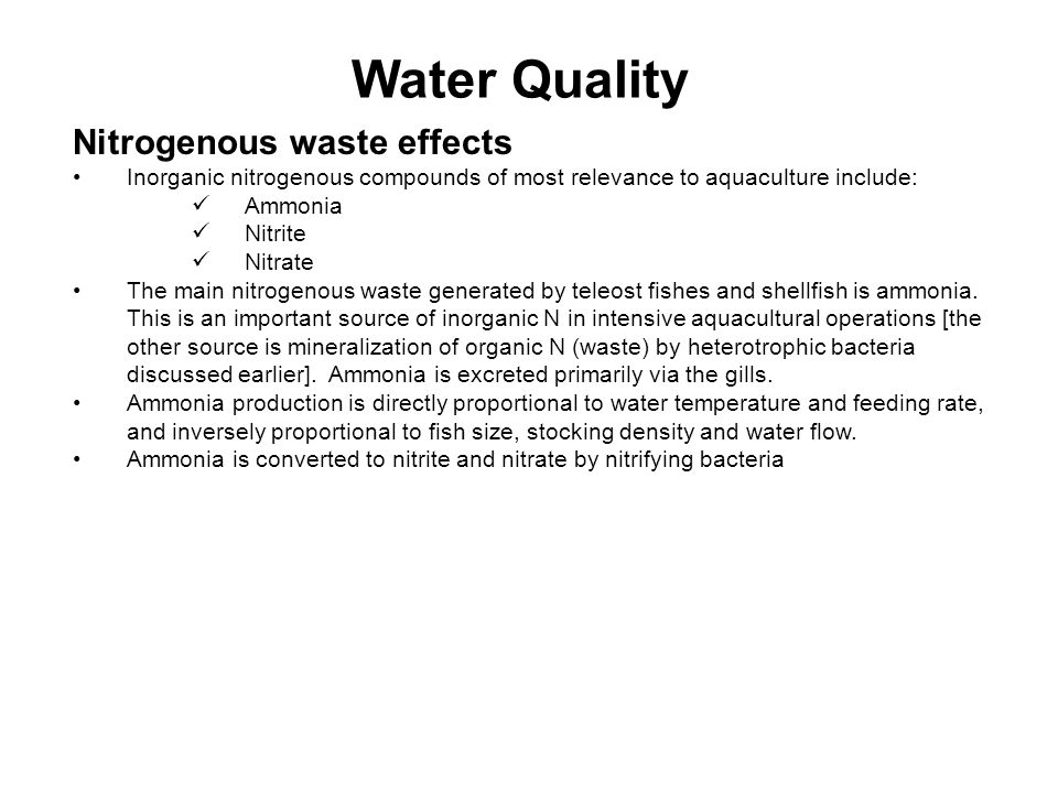 Water Quality Nitrogenous waste effects