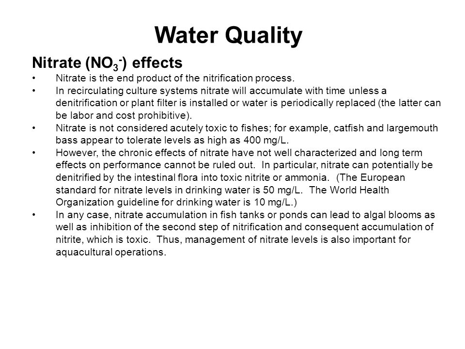 Water Quality Nitrate (NO3-) effects