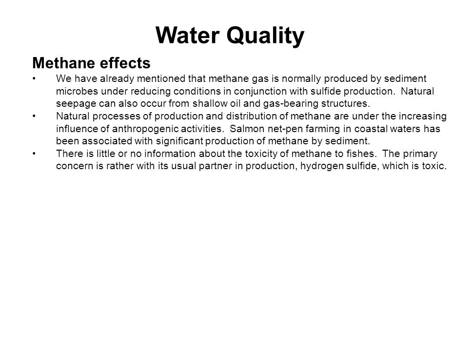Water Quality Methane effects