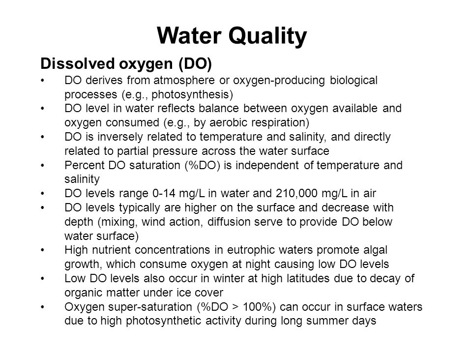 Water Quality Dissolved oxygen (DO)