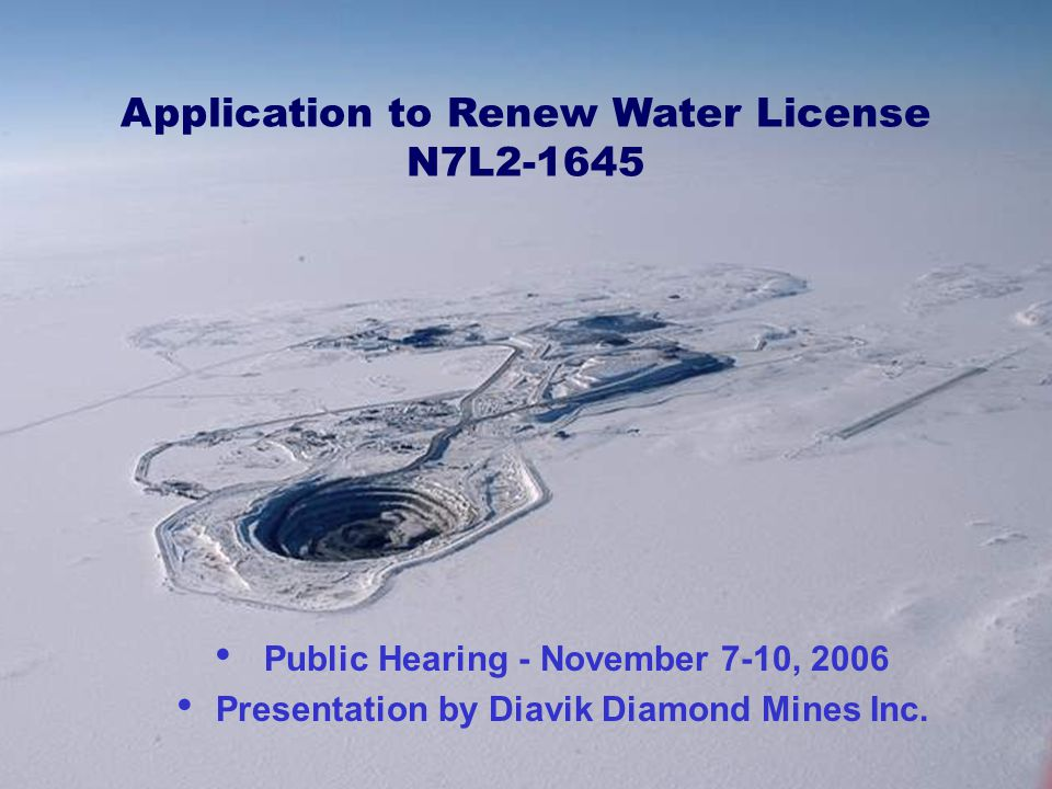 Application to Renew Water License N7L2-1645