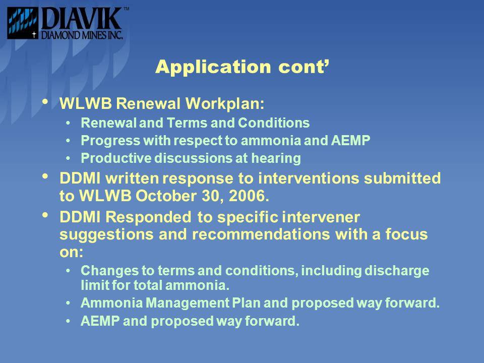 Application cont' WLWB Renewal Workplan:
