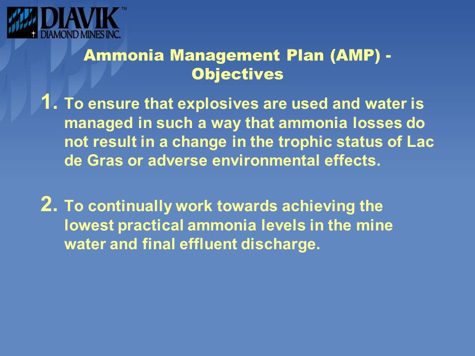 Ammonia Management Plan (AMP) - Objectives