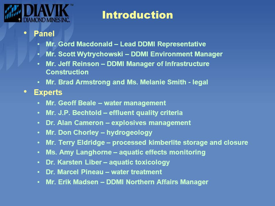 Introduction Panel Experts