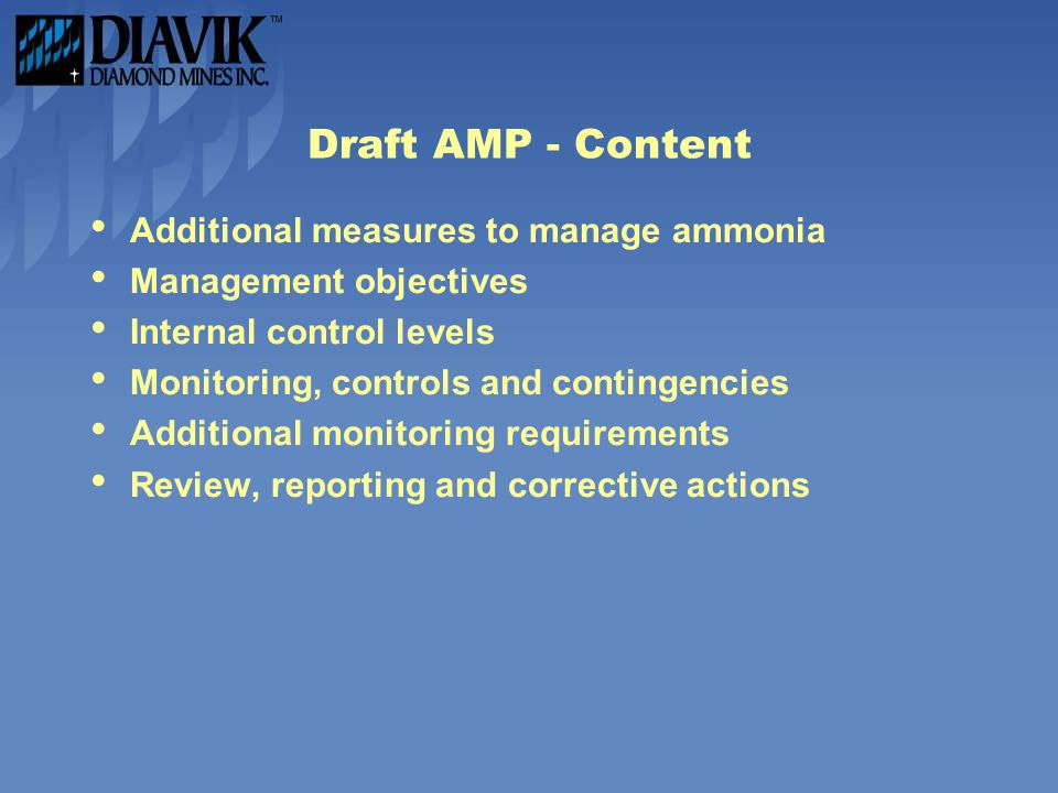 Draft AMP - Content Additional measures to manage ammonia