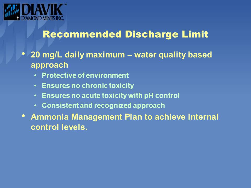 Recommended Discharge Limit