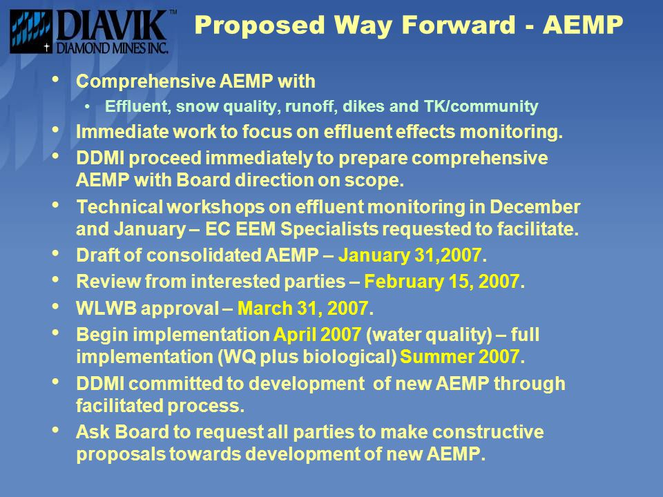 Proposed Way Forward - AEMP