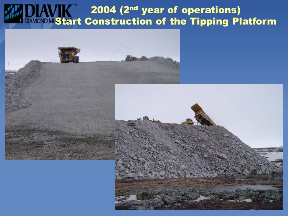 2004 (2nd year of operations) Start Construction of the Tipping Platform