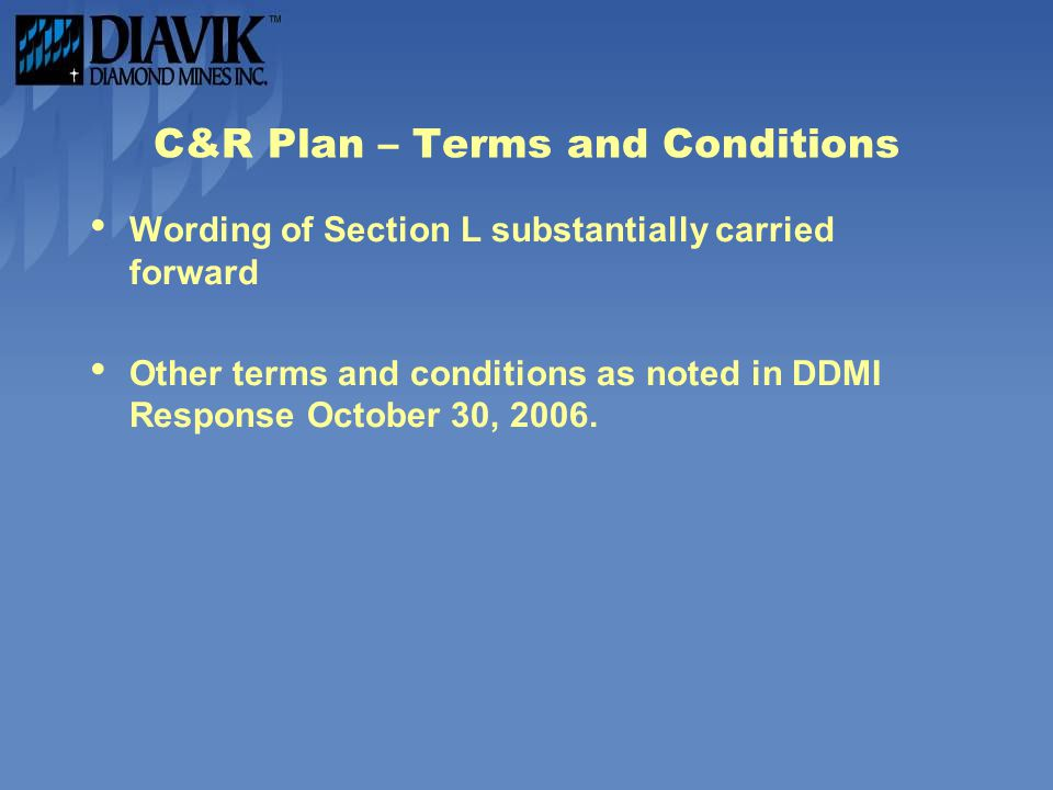C&R Plan – Terms and Conditions