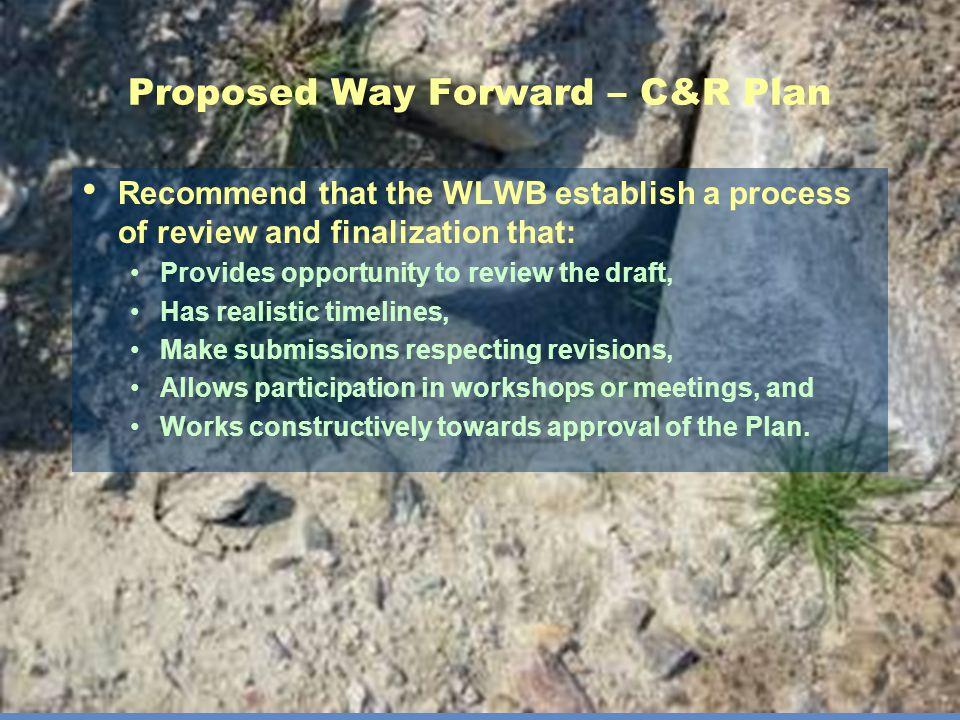 Proposed Way Forward – C&R Plan