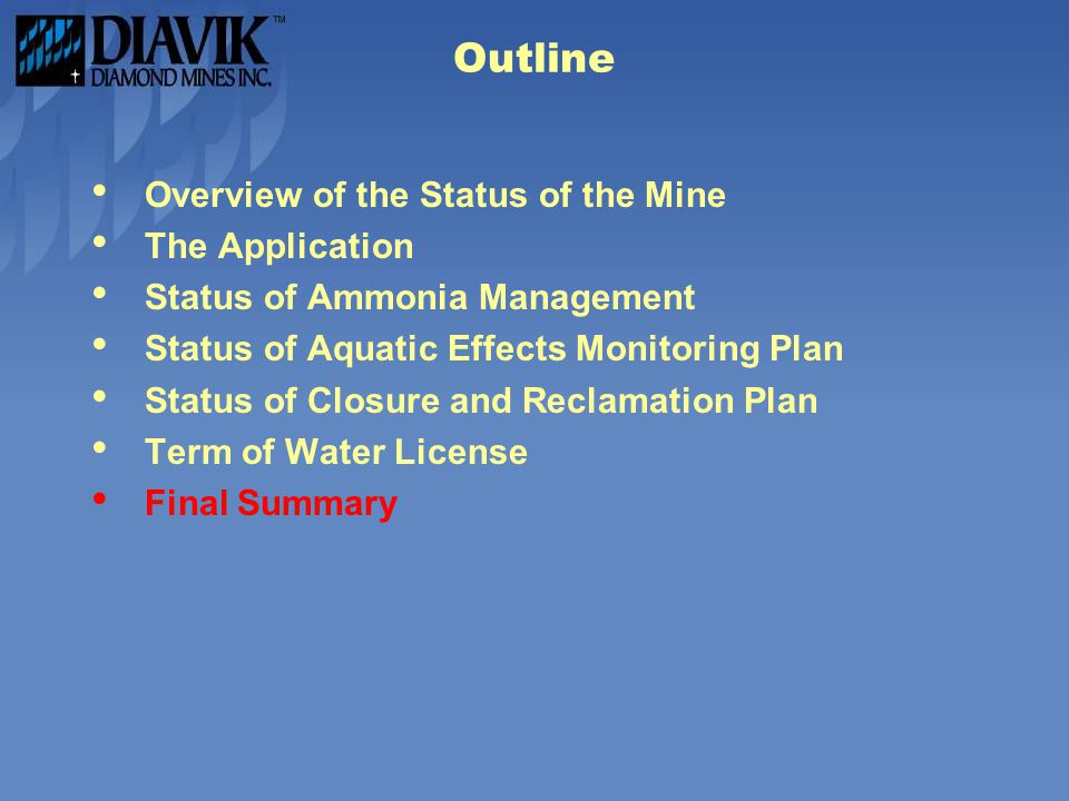 Outline Overview of the Status of the Mine The Application