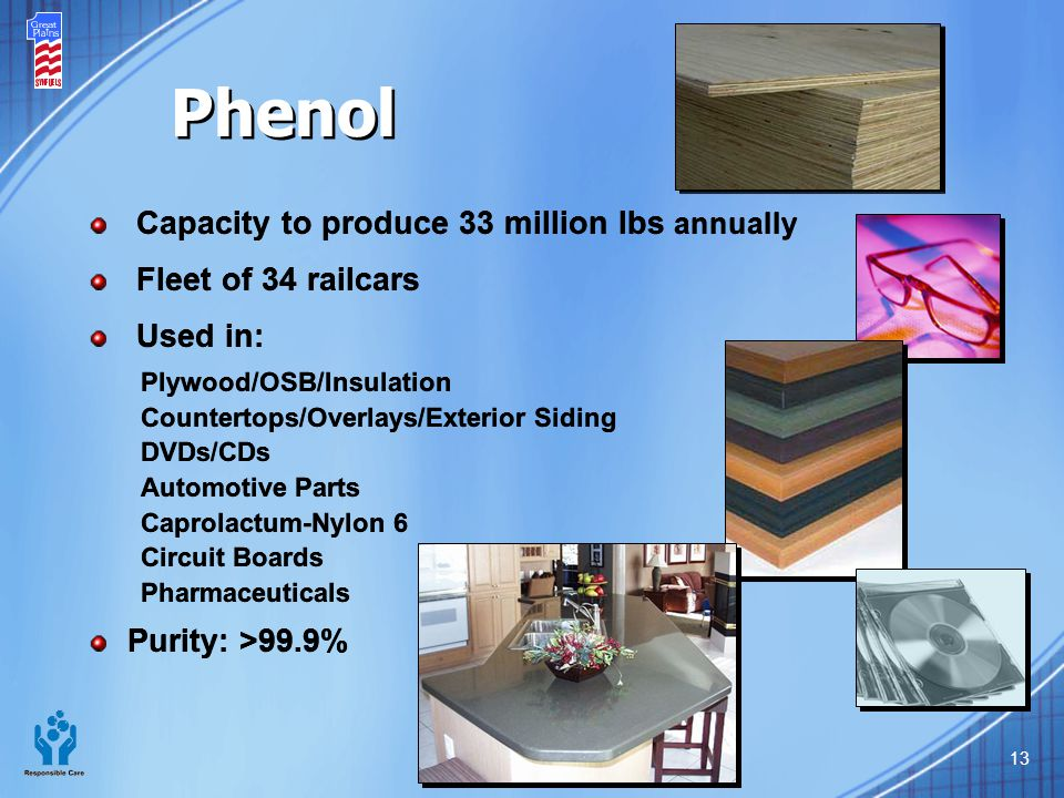 Phenol Capacity to produce 33 million lbs annually