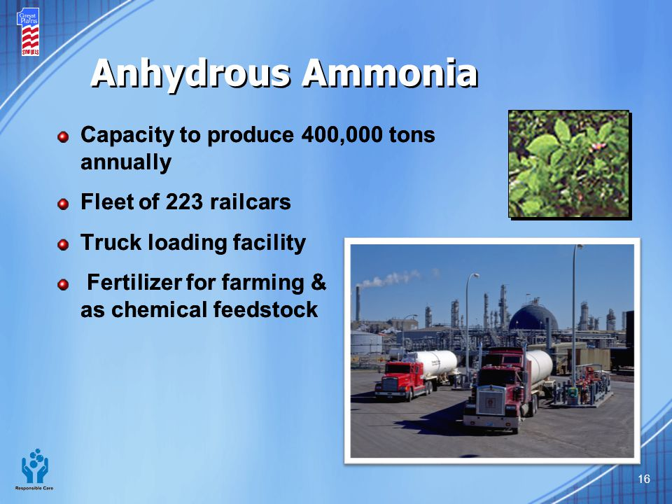 Anhydrous Ammonia Capacity to produce 400,000 tons annually