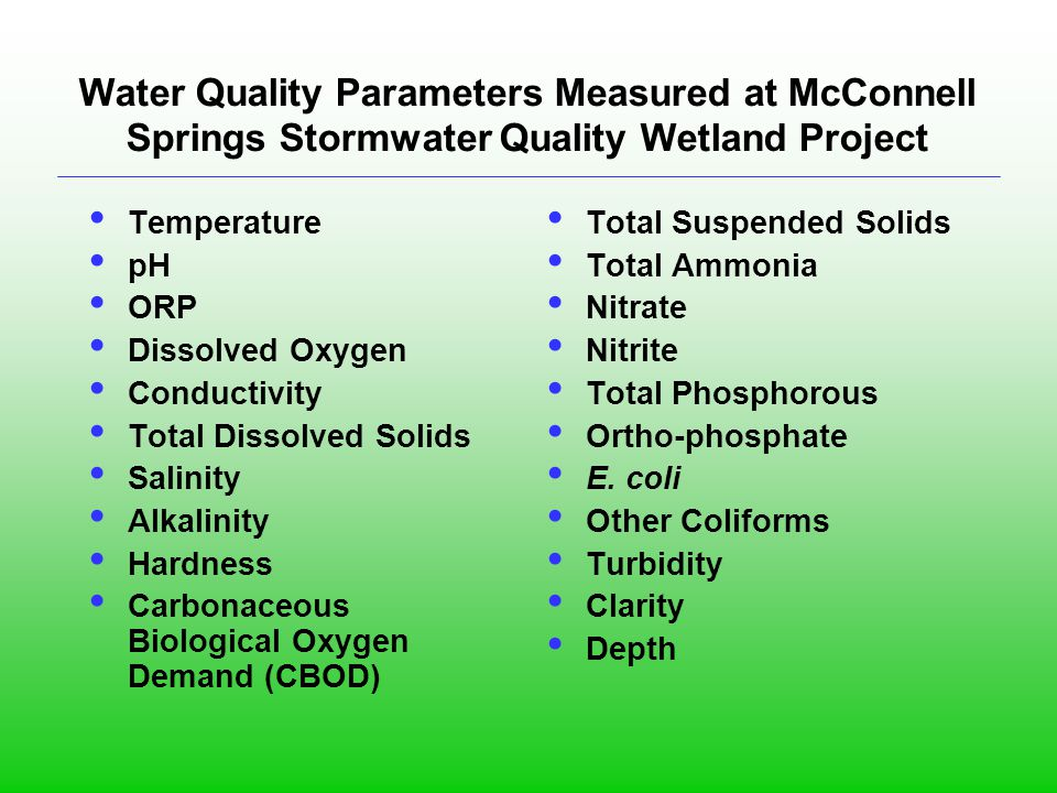 Water Quality Parameters Measured at McConnell Springs Stormwater Quality Wetland Project