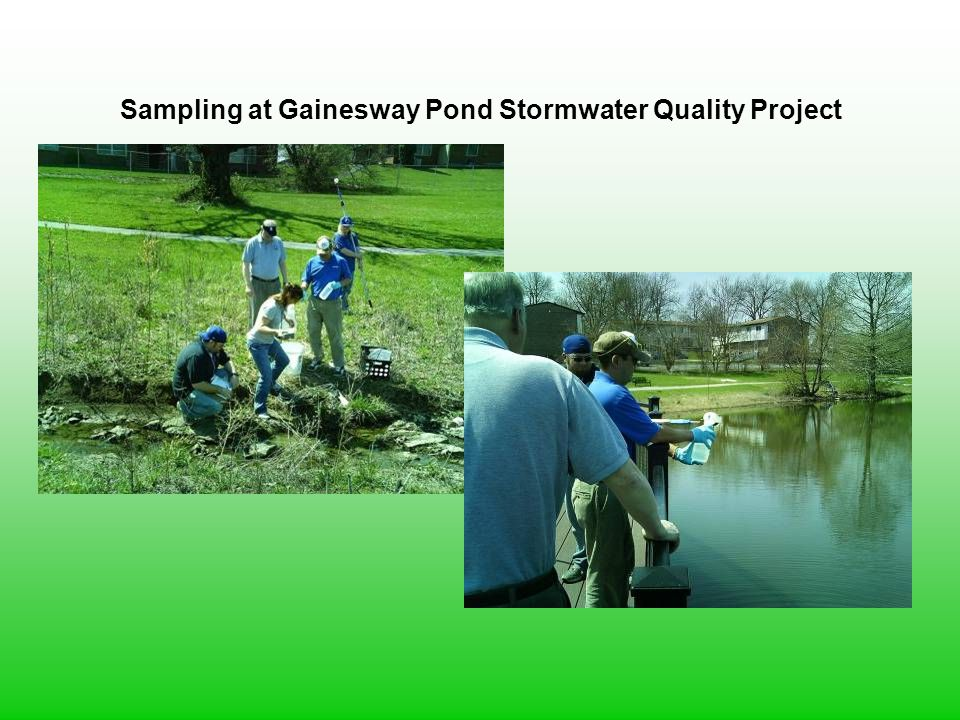 Sampling at Gainesway Pond Stormwater Quality Project